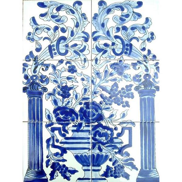 Mosaic 'Blue Mix Floral' 6-tile Ceramic Mural