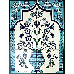 Moroccan-style Floral Pot 6-tile Ceramic Mosaic