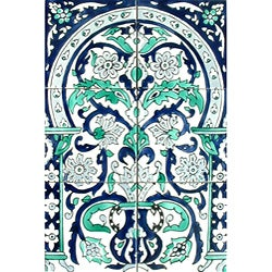 Victorian-style Floral Arch 6-tile Ceramic Mosaic
