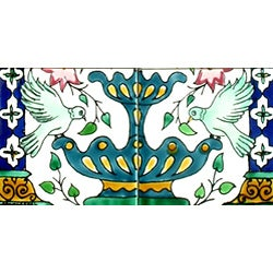 Green Doves-n-Fountain 6-tile Ceramic Mosaic Mural - Thumbnail 1