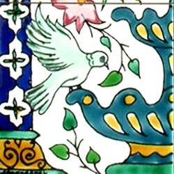 Green Doves-n-Fountain 6-tile Ceramic Mosaic Mural - Thumbnail 2