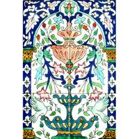 Green Doves-n-Fountain 6-tile Ceramic Mosaic Mural