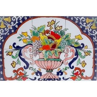 Art Fruit Basket 6-tile Ceramic Backsplash Mosaic