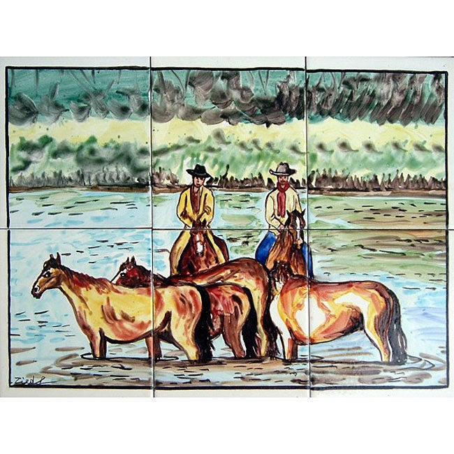 Cowboys crossing river 6 tile ceramic mosaic mural free for Crossing the shallows tile mural