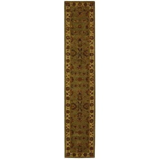 Safavieh Handmade Heritage Traditional Kerman Green/ Gold Wool Runner (2'3 x 14')