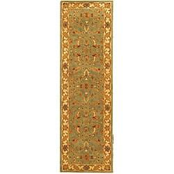 Safavieh Handmade Antiquities Treasure Teal/ Beige Wool Runner (2'3 x 10')
