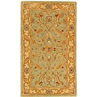 """Safavieh Handmade Antiquities Treasure Teal/ Beige Wool Runner - 2'-3"""" x 4'"""
