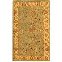 Safavieh Handmade Antiquities Treasure Teal/ Beige Wool Rug - 4' x 6'