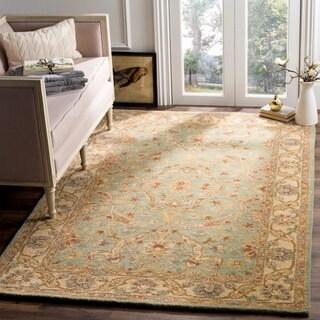 Safavieh Handmade Antiquities Treasure Teal/ Beige Wool Rug (5' x 8')