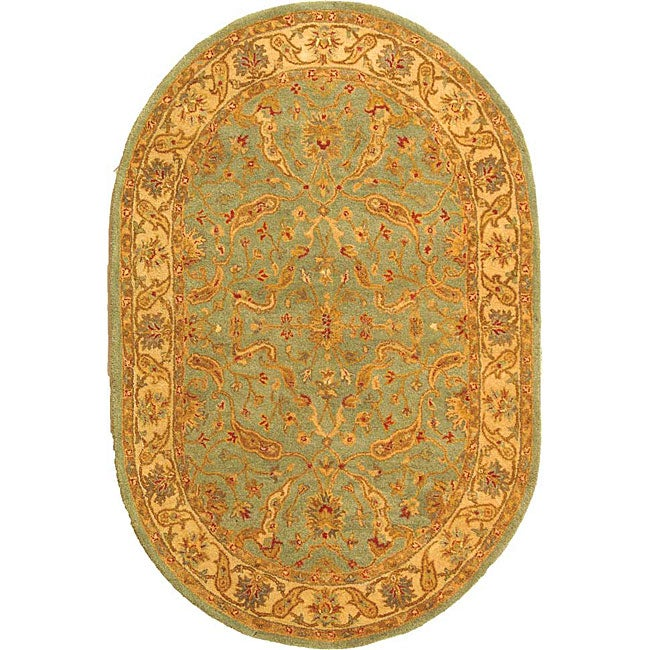 Safavieh Handmade Treasure Teal/ Beige Wool Rug (7'6 x 9'6 Oval)
