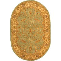"Safavieh Handmade Treasure Teal/ Beige Wool Rug - 7'-6"" x 9'-6"" oval"