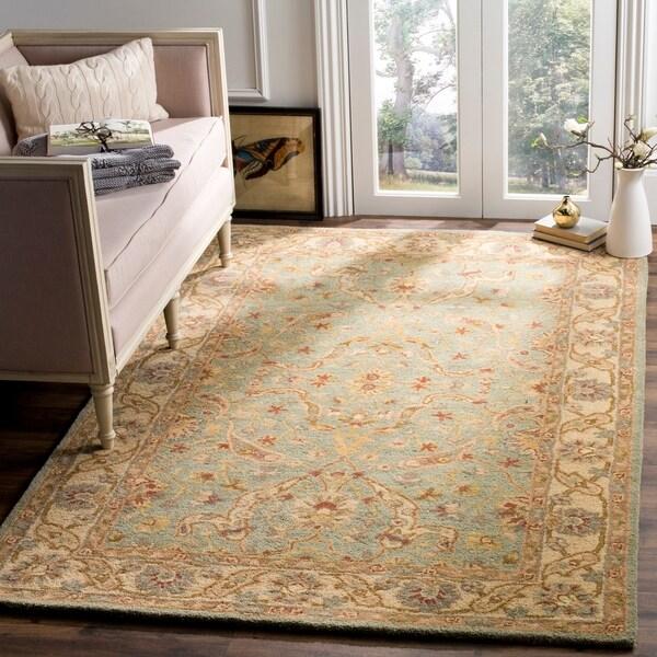 """Safavieh Handmade Antiquities Treasure Teal/ Beige Wool Rug - 8'3"""" x 11'"""