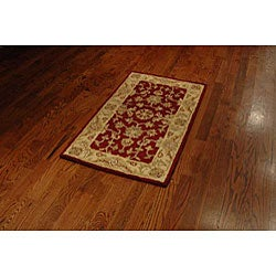 Safavieh Handmade Antiquities Jewel Red/ Ivory Wool Runner (2'3 x 4') - Thumbnail 2