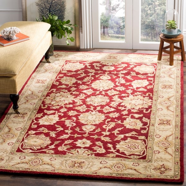 "Safavieh Handmade Antiquities Jewel Red/ Ivory Wool Rug - 7'6"" x 9'6"""