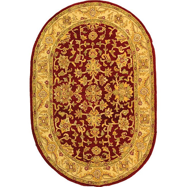Safavieh Handmade Antiquities Jewel Red/ Ivory Wool Rug (7'6 x 9'6 Oval) - Thumbnail 0
