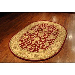 Safavieh Handmade Antiquities Jewel Red/ Ivory Wool Rug (7'6 x 9'6 Oval) - Thumbnail 2
