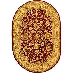 "Safavieh Handmade Antiquities Jewel Red/ Ivory Wool Rug - 7'6"" x 9'6"" oval - Thumbnail 0"