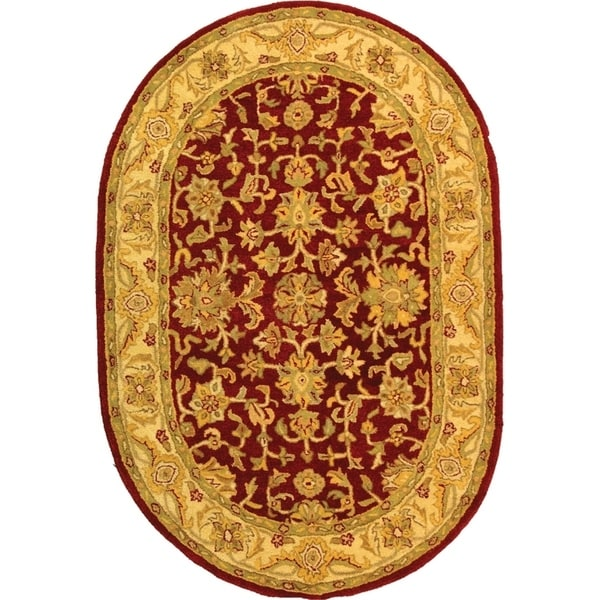 "Safavieh Handmade Antiquities Jewel Red/ Ivory Wool Rug - 7'-6"" x 9'-6"" oval"