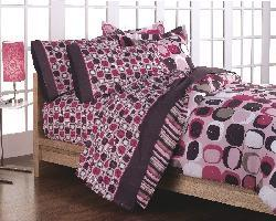 Opus Pink 7-Piece Full-size Bed in a Bag with Sheet Set - Thumbnail 2