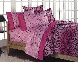Pink 'Wild One' Full-size 7-piece Bed in a Bag with Sheet Set - Thumbnail 1