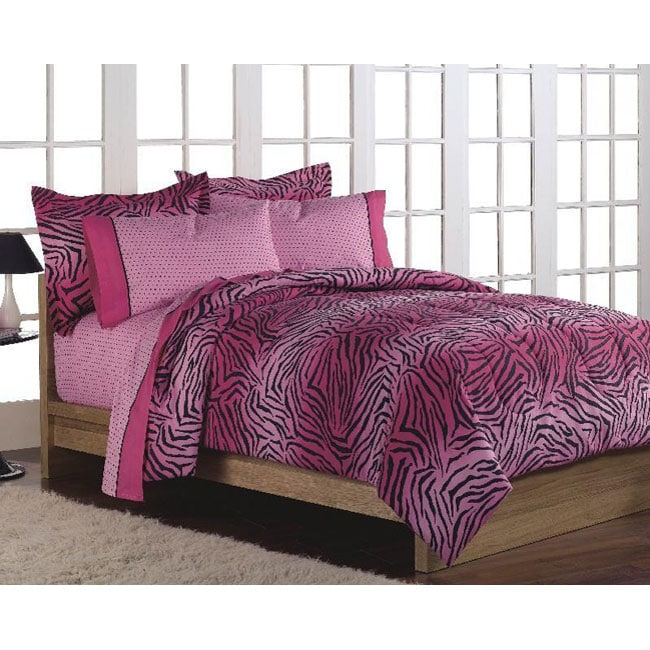 shop pink 39 wild one 39 full size 7 piece bed in a bag with sheet set free shipping today. Black Bedroom Furniture Sets. Home Design Ideas