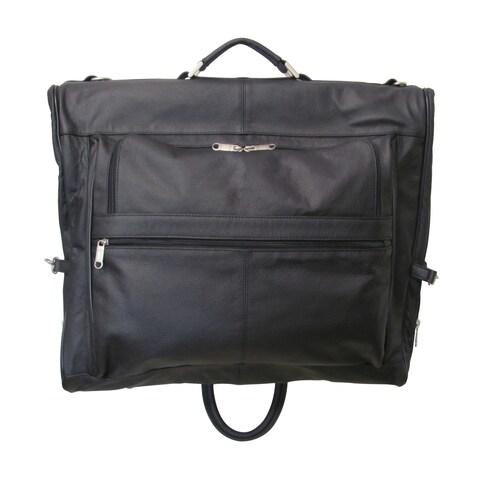 Amerileather Cowhide Leather 3-suit Garment Bag