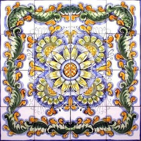 Kotiba Design 16-tile Ceramic Mosaic Medallion