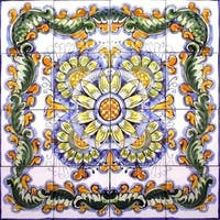 Kotiba Design 16-tile Ceramic Mosaic Medallion