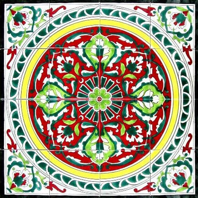 Hand-painted Mosaic Ceramic Tiles (Set of 16)