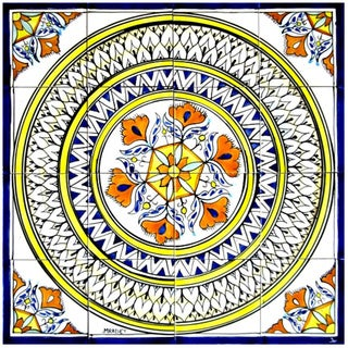 Accent Medallion Hand-painted Mosaic Ceramic Tile (Set of 16)