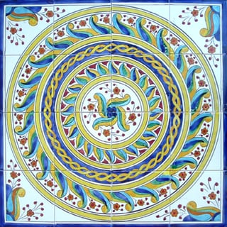 Hand-painted Medallion Mosaic Ceramic Tiles (Set of 16)