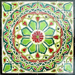 Hand-painted Mosaic Ceramic Tiles (Set of 16)