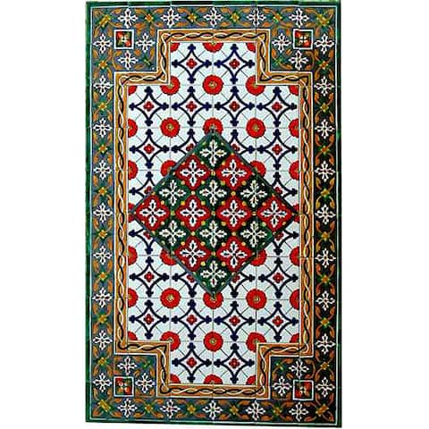 Antique Looking Persian Area Rug Architectural 'Isphahan Design' 60 Tile Ceramic Wall Art