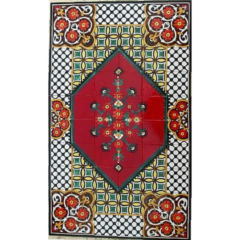 Antique Looking Persian Area Rug Architectural 'Tabriz Design' 60 Tile Ceramic Wall Art