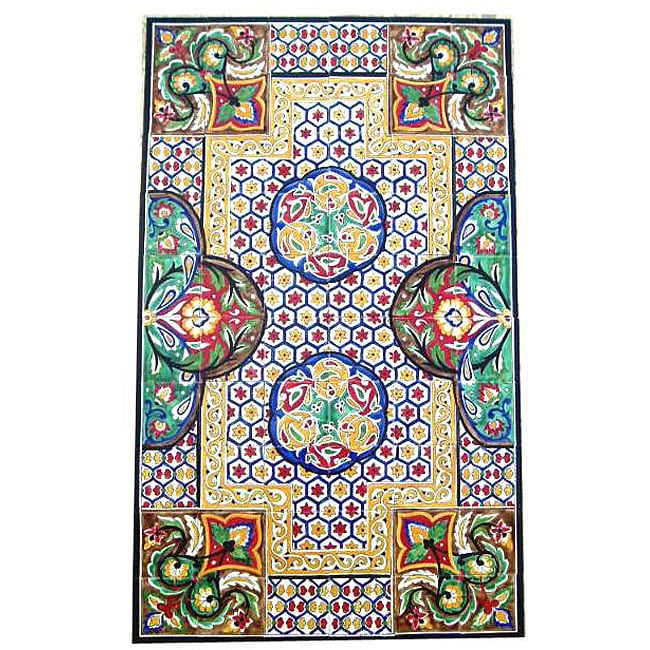 Antique Looking Persian Area Rug Architectural Chabahar Design 60 Tile Ceramic Wall Art Free Shipping Today 3571204