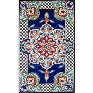 Architectural 'Bizeh Design' 60-tile Ceramic Wall Art