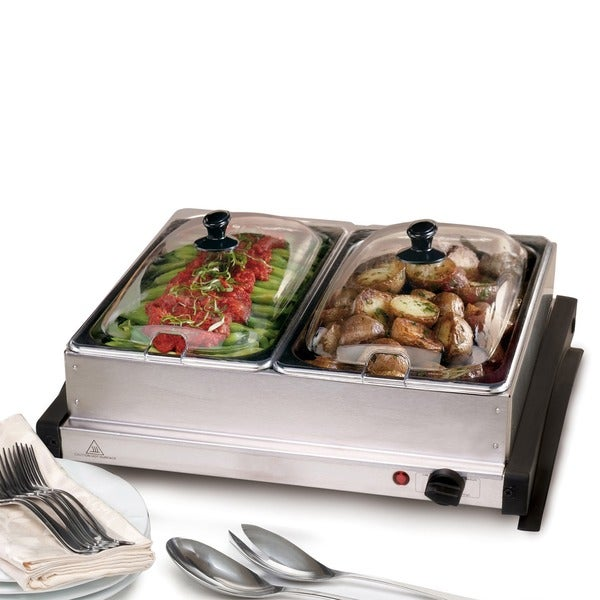 shop dual stainless steel buffet server warming tray ships to rh overstock ca elite stainless steel buffet server with warming tray betty crocker bc-2587cy stainless steel buffet server with warming tray