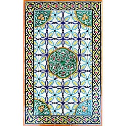 Antique Looking Persian Area Rug Architectural 'Raya Design' 40 Tile Ceramic Wall Art