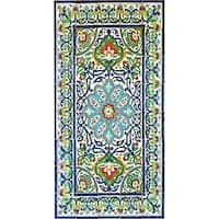 Antique Looking Persian Area Rug Architectural 'Bahar Design' 40 Tile Ceramic Wall Art