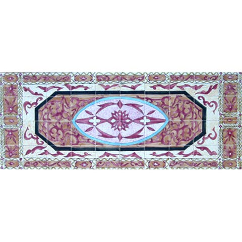 Antique Looking Persian Area Rug Architectural 'Persepolis Design' 40 Tile Ceramic Wall Art