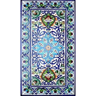 Antique Looking Persian Area Rug Exotiques Handmade Architectural Bahar Design Ceramic Tile (Set of 28)