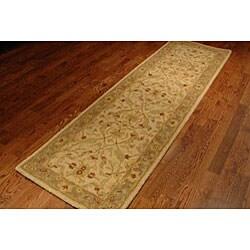 Safavieh Handmade Treasure Ivory/ Brown Wool Runner (2'3 x 12') - Thumbnail 2