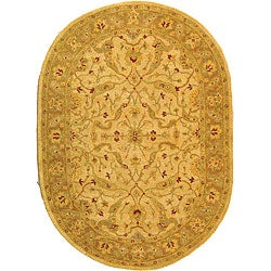 Safavieh Handmade Treasure Ivory/ Brown Wool Rug (7'6 x 9'6 Oval)