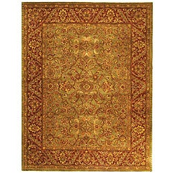 Safavieh Handmade Golden Jaipur Green/ Rust Wool Rug (9'6 x 13'6)