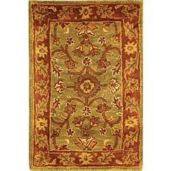 Safavieh Handmade Golden Jaipur Green/ Rust Wool Rug (2' x 3')