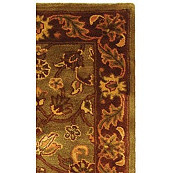 Safavieh Handmade Golden Jaipur Green/ Rust Wool Runner (2'3 x 10') - Thumbnail 2