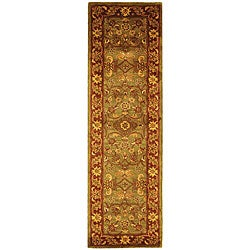 Safavieh Handmade Golden Jaipur Green/ Rust Wool Runner (2'3 x 12')