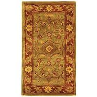 Safavieh Handmade Golden Jaipur Green/ Rust Wool Runner Rug - 2'3 x 4'
