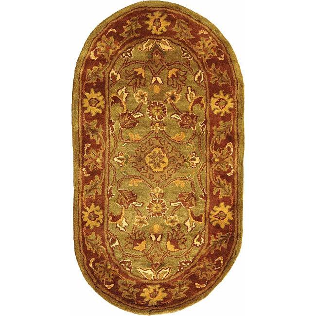 Safavieh Handmade Golden Jaipur Green/ Rust Wool Rug (2'3 x 4' Oval)