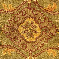 Safavieh Handmade Golden Jaipur Green/ Rust Wool Rug (2'3 x 4' Oval) - Thumbnail 1